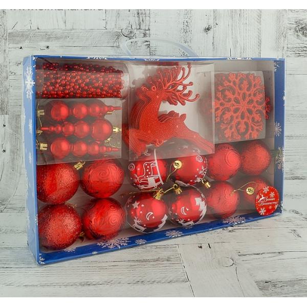 """Набор шаров пластик """"Волшебный олень"""" красный"""